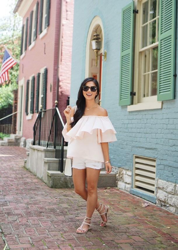 Pink Off the Shoulder Top & White Denim Shorts
