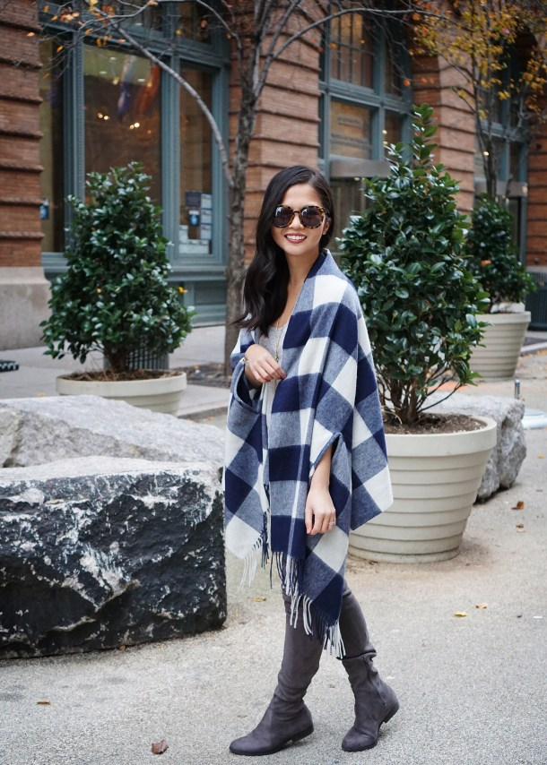 Skirt The Rules / Plaid Scarf & Over the Knee Boots