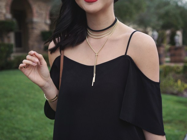 Skirt The Rules / Black Cold Shoulder Top & Layered Choker Necklace