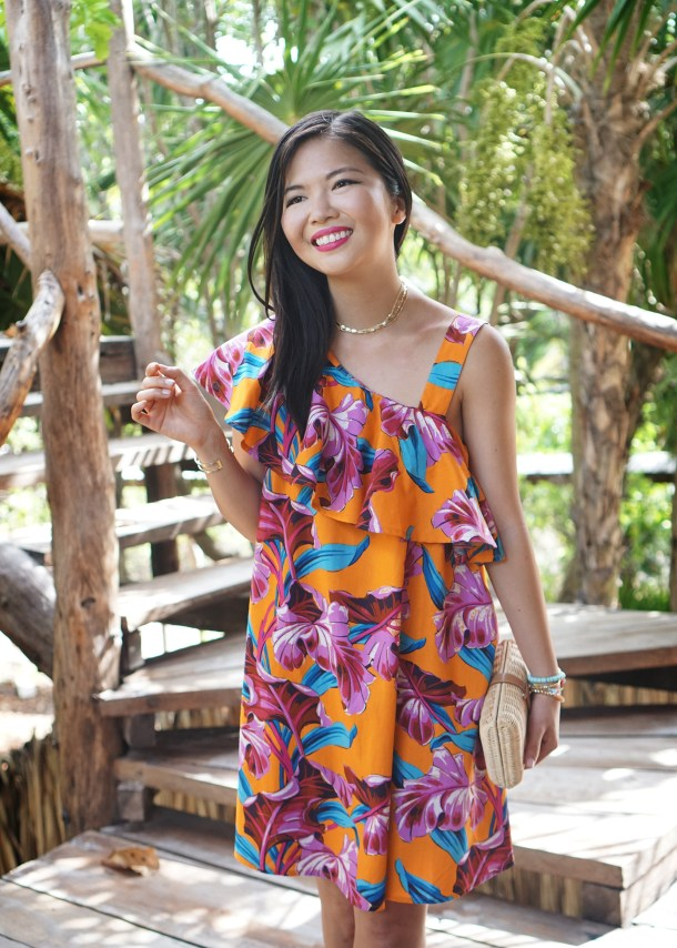 Summer Style / Orange Floral Print Dress