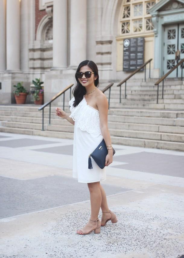 Summer Fashion / hite Eyelet One Shoulder Dress