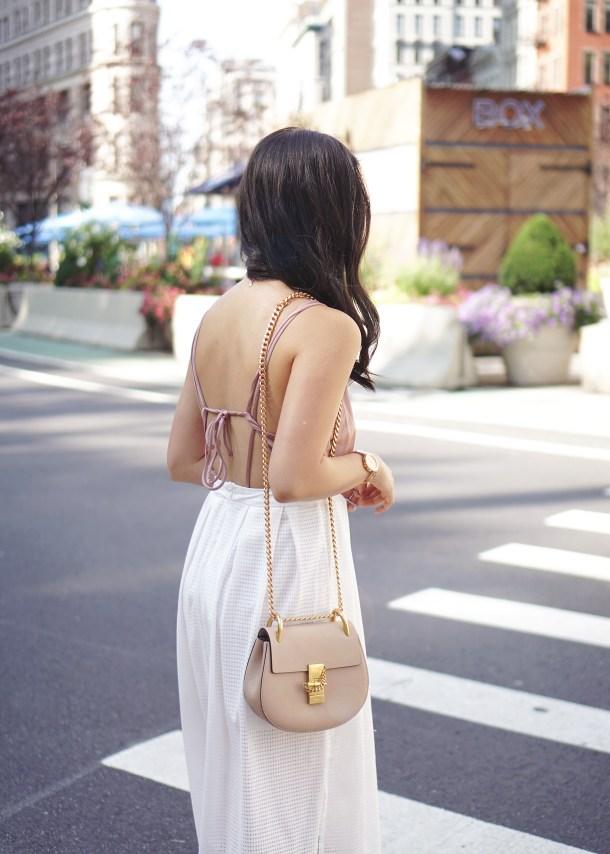 Neutral Style Inspiration: Blush Wrap Bodysuit and White Midi Skirt