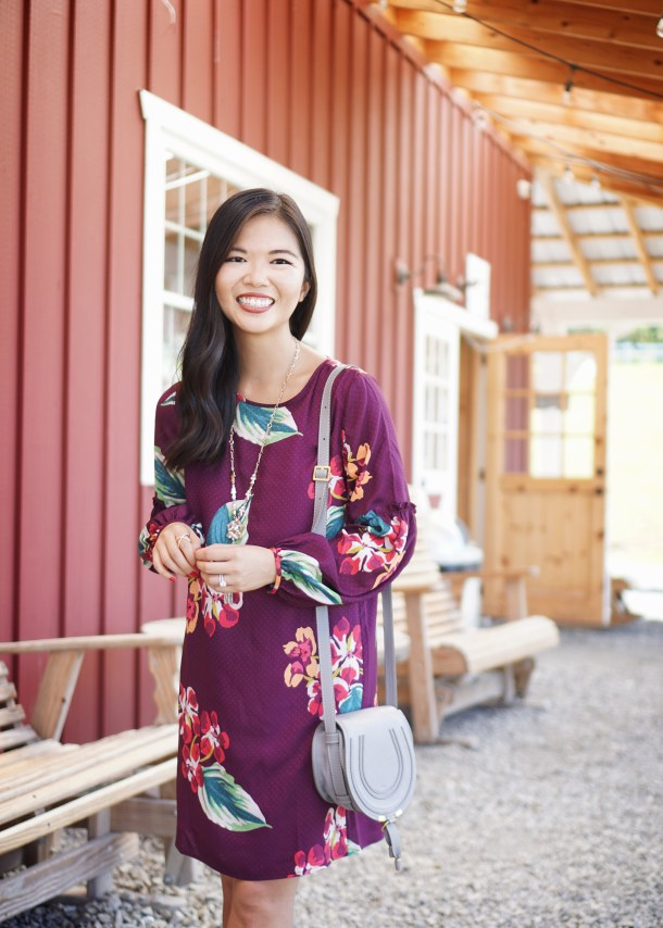 Fall Fashion Inspiration: Maroon Floral Dress