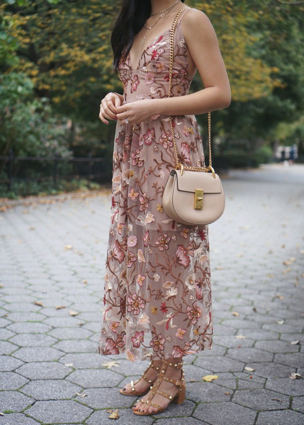 Wedding Guest Outfit Inspiration / Floral Mesh Midi Dress