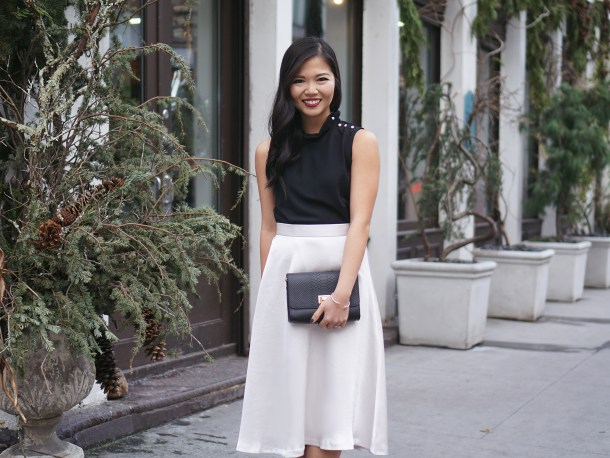 Black Top & Satin Midi Skirt