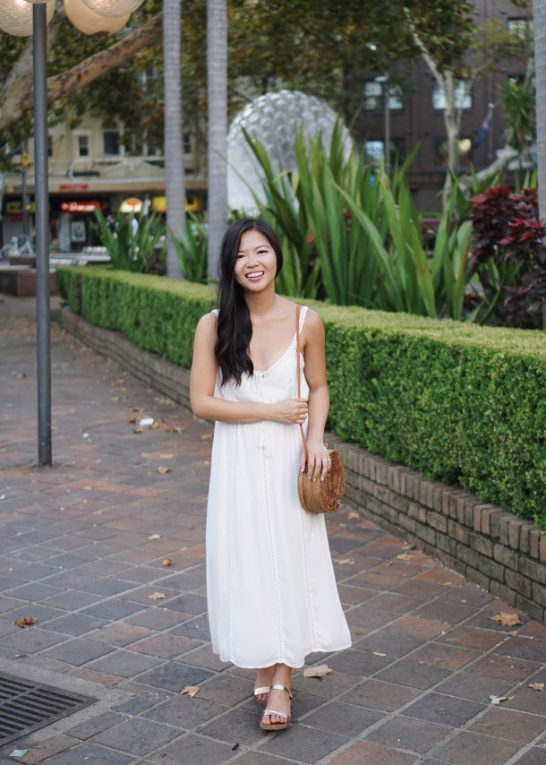 Vacation Style / White Maxi Dress & Straw Bag