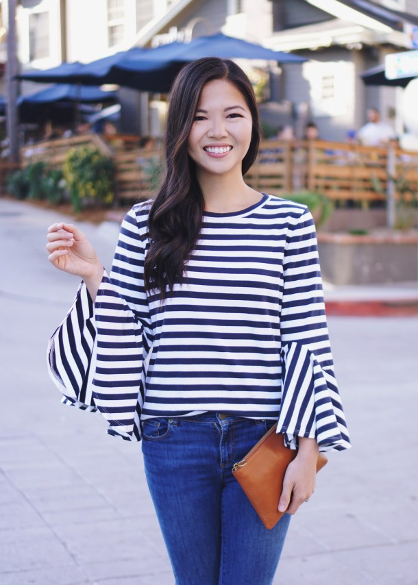 Casual Spring Style / Striped Bell Sleeve Top