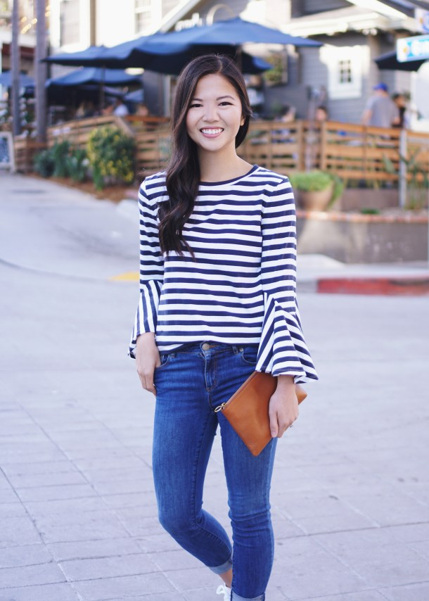 Navy and White Striped Bell Sleeve Top