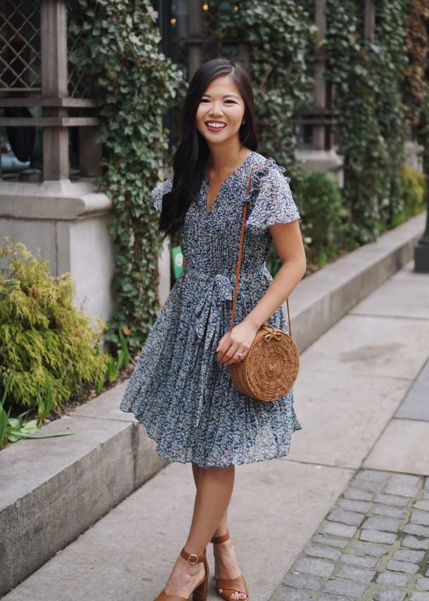 Spring Fashion for Women / Floral Dress & Straw Bag