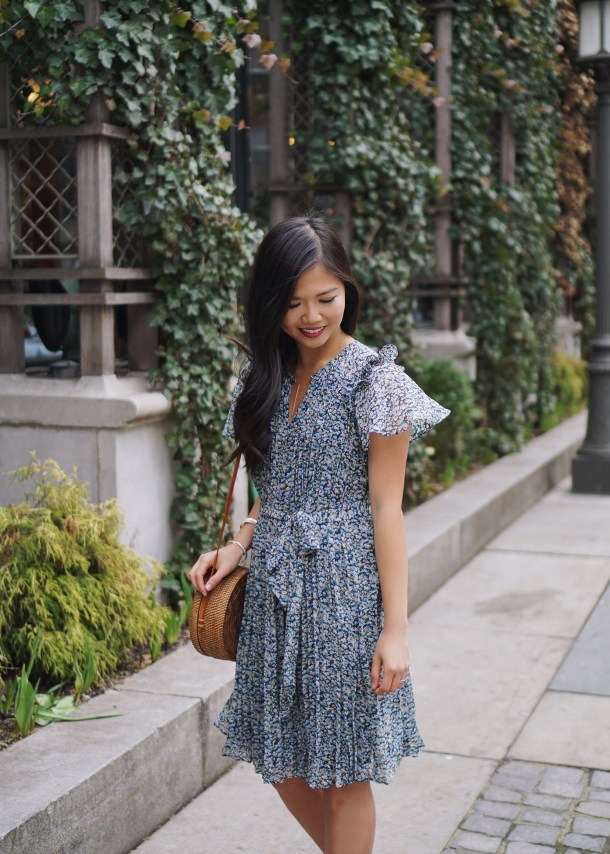 Spring Dress / Floral Dress with Pleats
