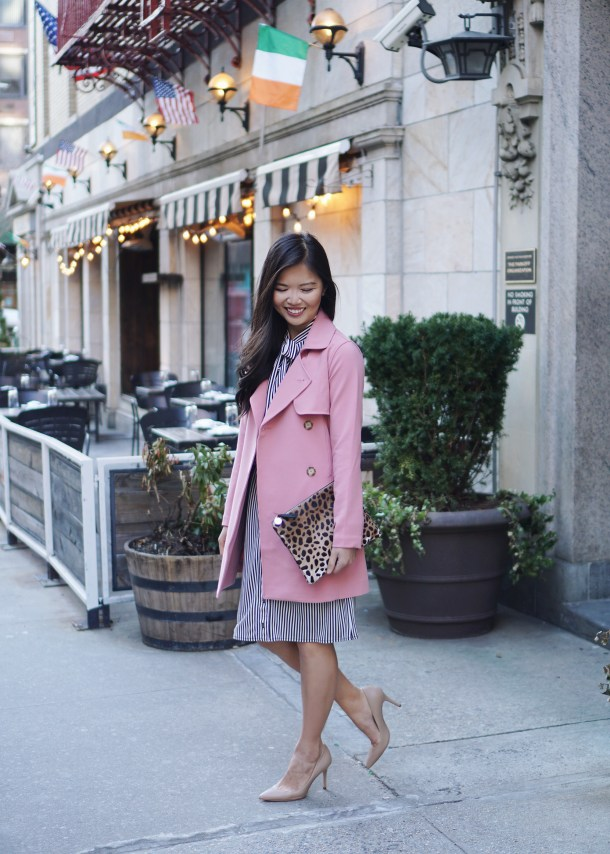 Spring Style / Pink Trench Coat & Stripe Dress