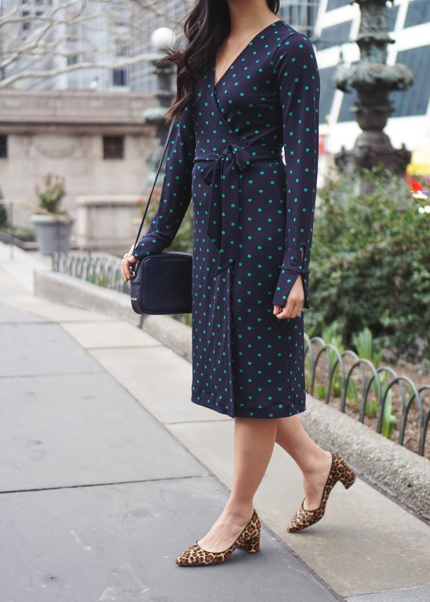Office Outfit Idea Polka Dot Wrap Dress & Leopard Pumps