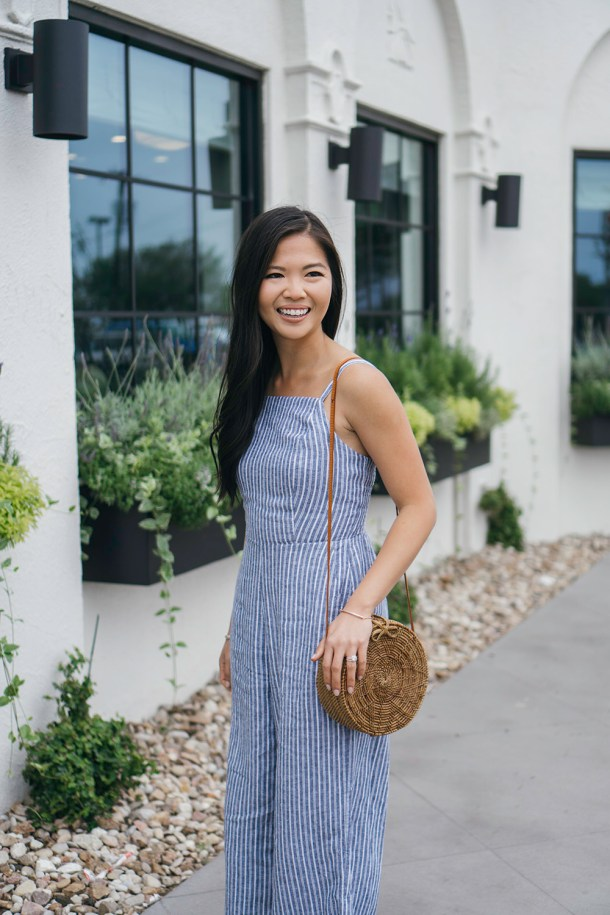 Spring Style / Blue and White Striped Jumpsuit