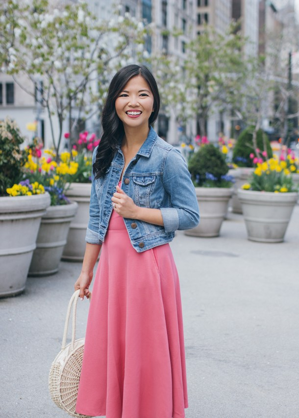 269bf1b6b51 ... Casual Spring Outfit   Pink Dress   Denim Jacket