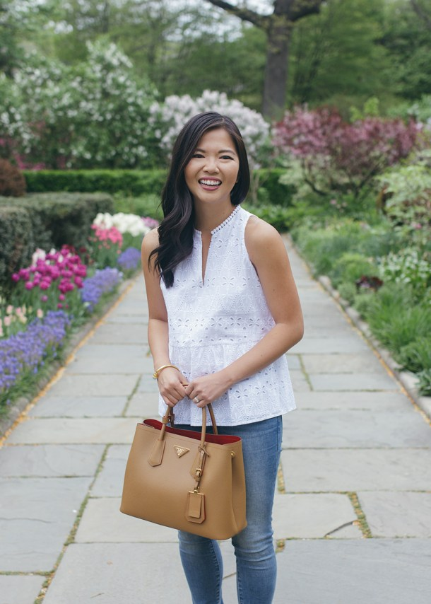 Casual Spring Outfit / Eyelet Top & Skinny Jeans