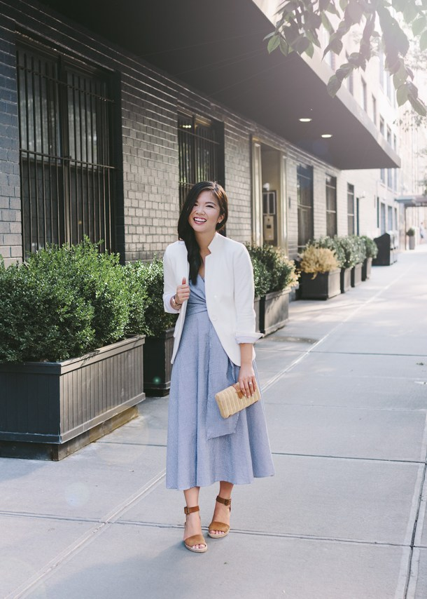 Gingham Wrap Dress & White Blazer