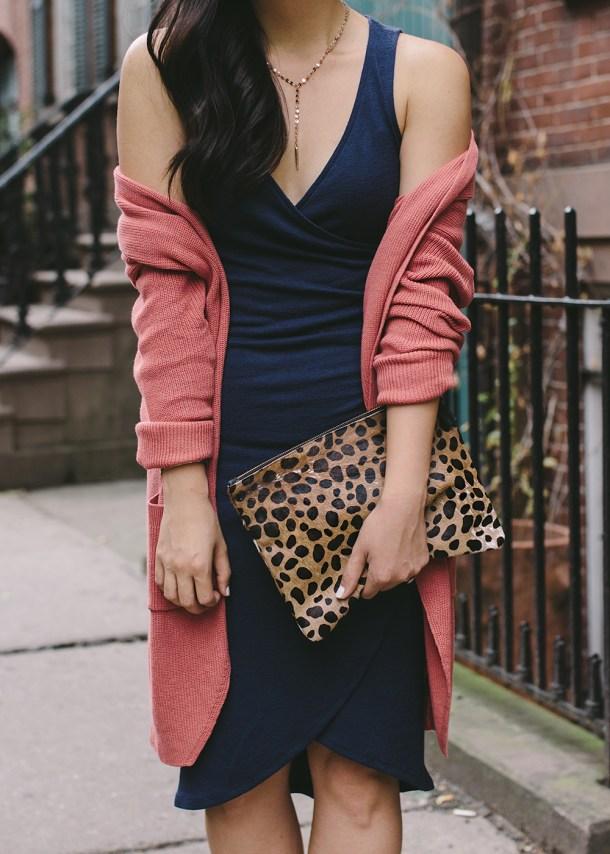 Fall Style Inspiration / Navy Dress & Dusty Rose Cardigan