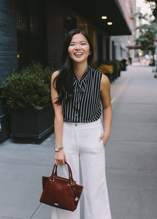 Affordable Work Outfits / Striped Top & Wide Leg Pants