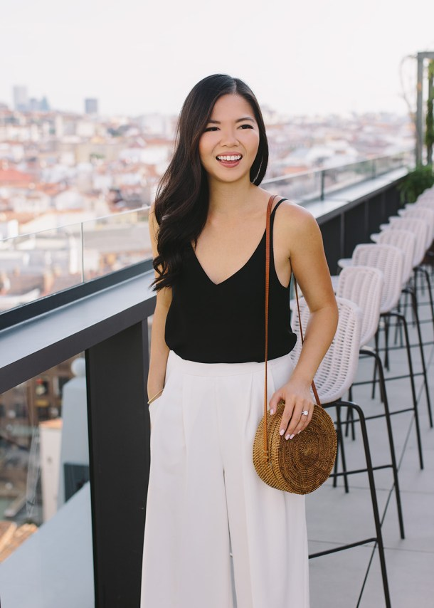 How to Wear Neutrals on Vacation / Black Camisole & White Culotte Pants