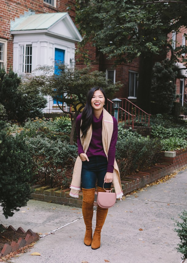 Fall Fashion Trends 2018 / Purple Turtleneck Sweater & Over the Knee Boots