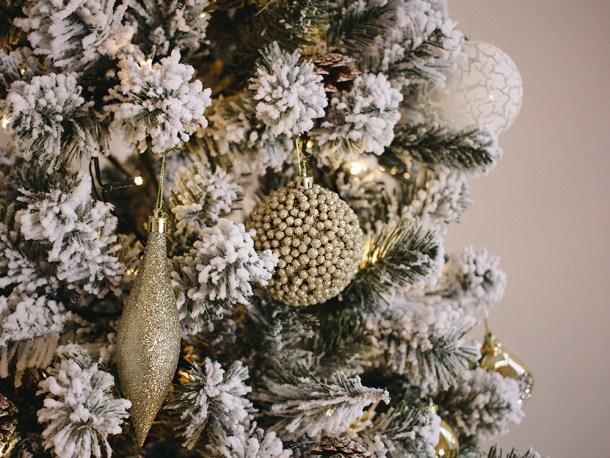 Gold & White Flocked Christmas Tree Decorations