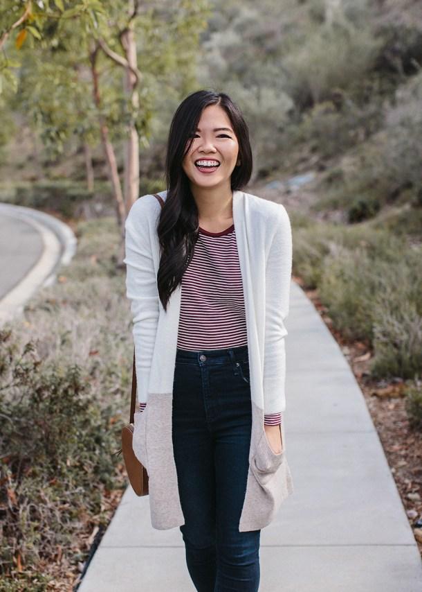 Fall Fashion / Striped Shirt & Colorbolock Cardigan