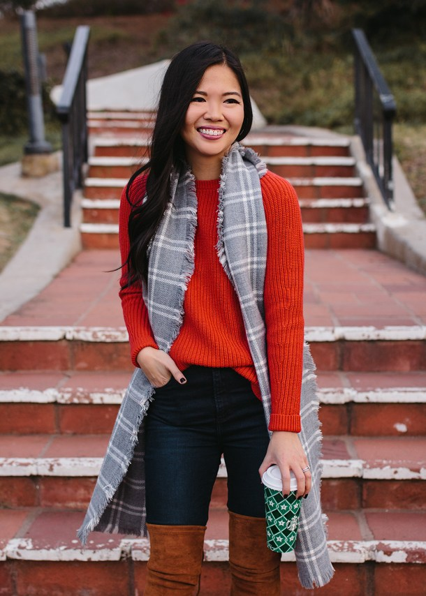 Casual Holiday Outfit Inspiration / Red Sweater & Gray Plaid Scarf