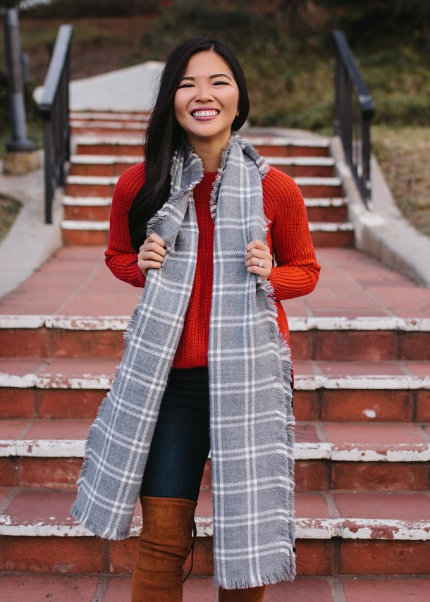 Red Holiday Sweater & Gray Plaid Scarf