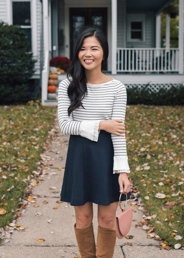 Casual Fall Outfit / Striped Sweater & Navy Flippy Skirt