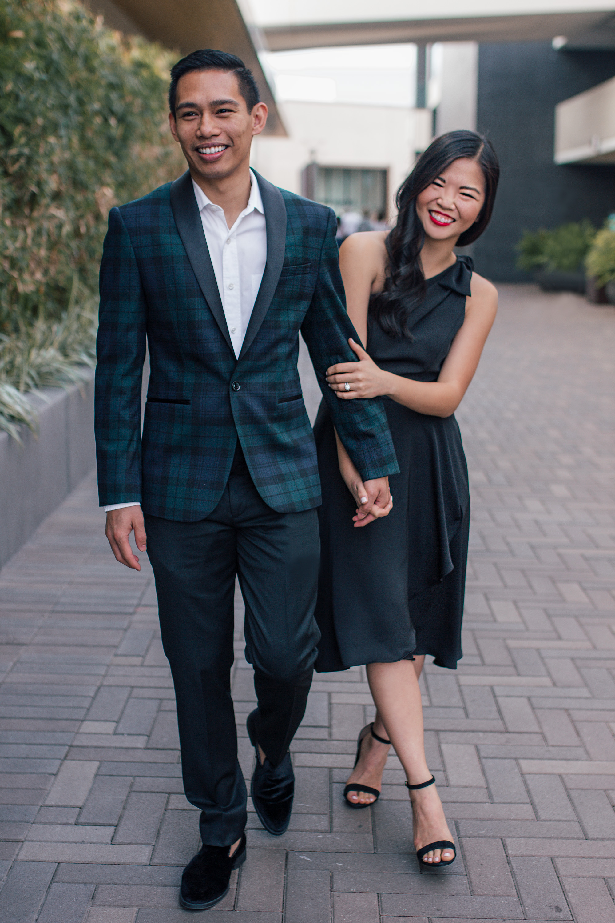 Men's Plaid Tuxedo and One Shoulder Black Dress