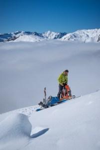 Backcountry skiing Dart Glacier, Mt Aspiring National Park