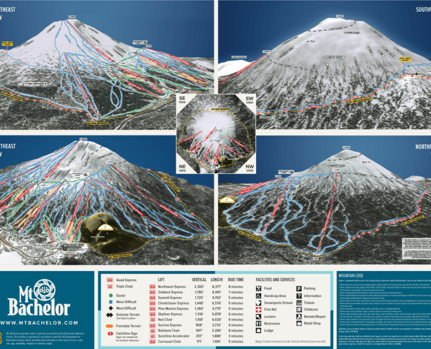 Skiing in US Mt Bachelor Trailmap