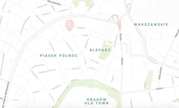Mapa z zaznaczoną lokalizacją Skład Kreatywny Kraków