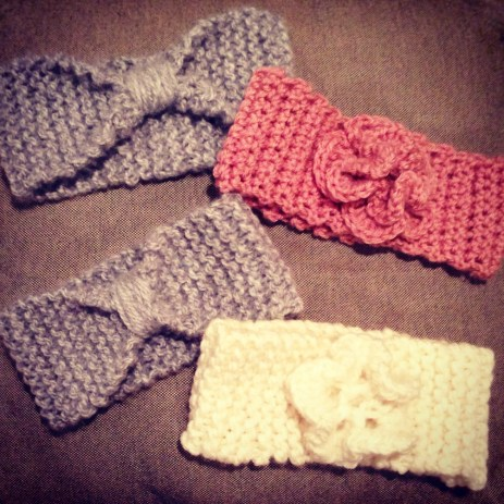 Believe it or not, Pinterest taught me how to crochet and knit this past winter. Headbands are currently trending.