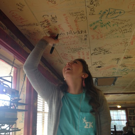 Writing on the ceiling
