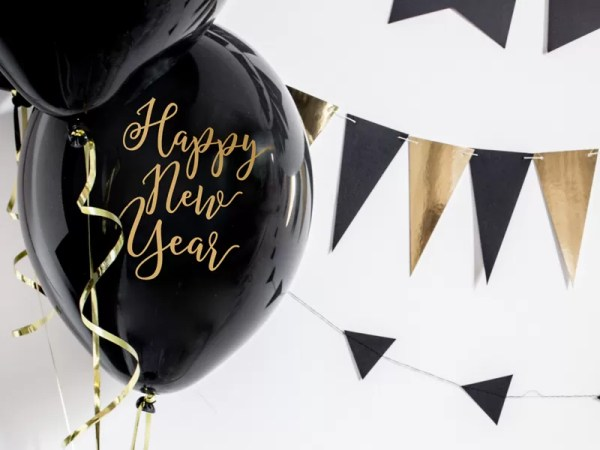 BALON HAPPY NEW YEAR CZARNY 30 CM 1