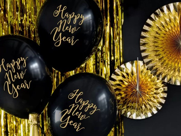BALON HAPPY NEW YEAR CZARNY 30 CM 2
