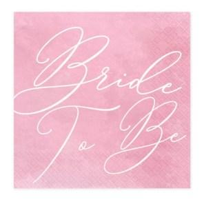 SERWETKI RÓŻOWE BRIDE TO BE