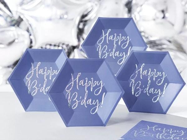 TALERZYKI NIEBIESKIE HAPPY BIRTHDAY 1