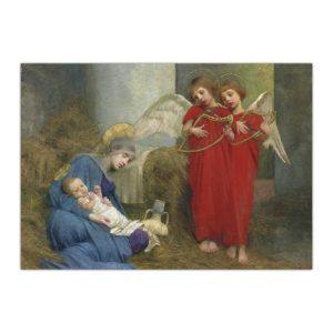 Kartka bożonarodzeniowa – Marianne Stokes, Aniołowie Zabawiający Dziecię, 1893