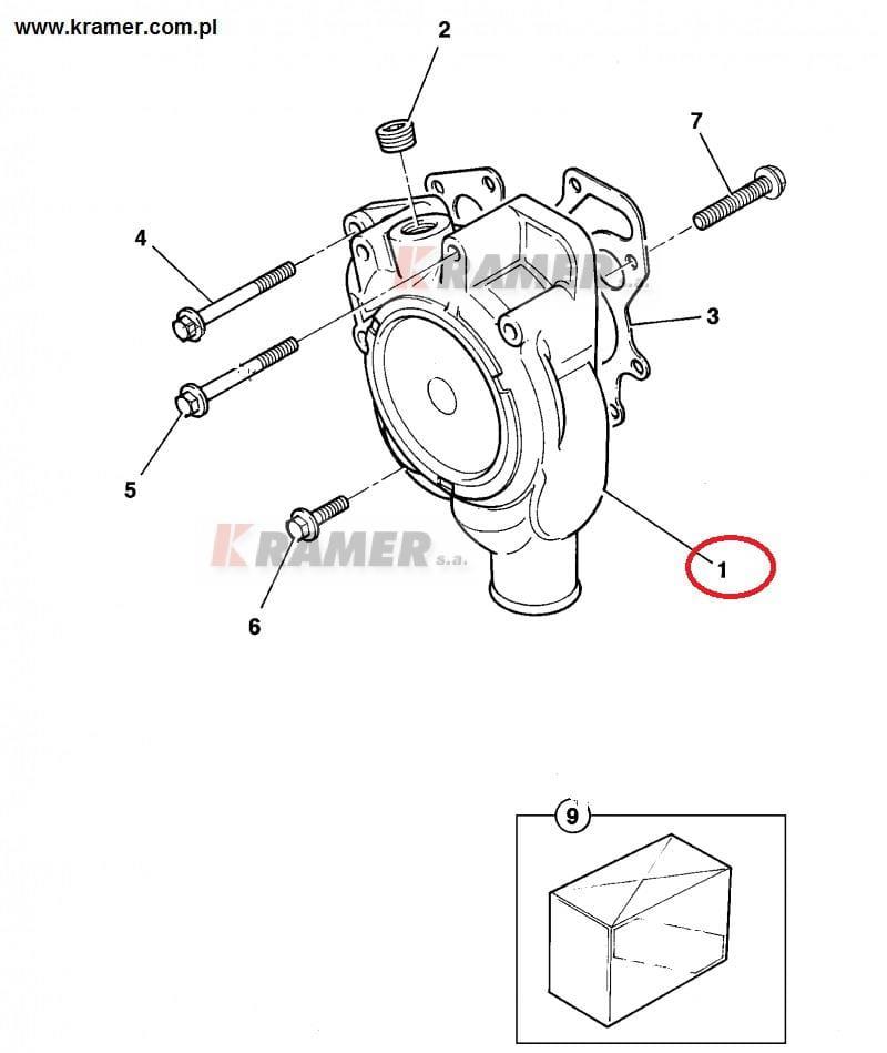 Pompa wody JCB 3CX 4CX silnik PERKINS AK Kramer S.A