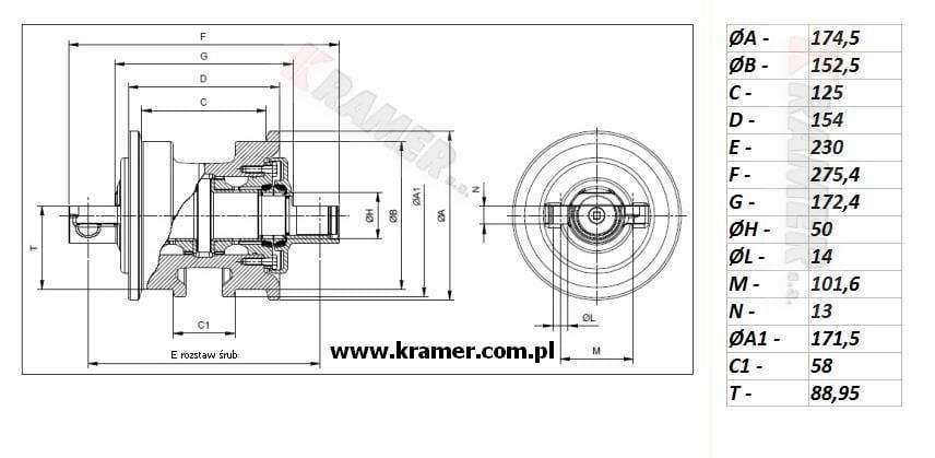 Rolka jezdna CAT D3B D3C D3G D4C II-kraw. Kramer S.A