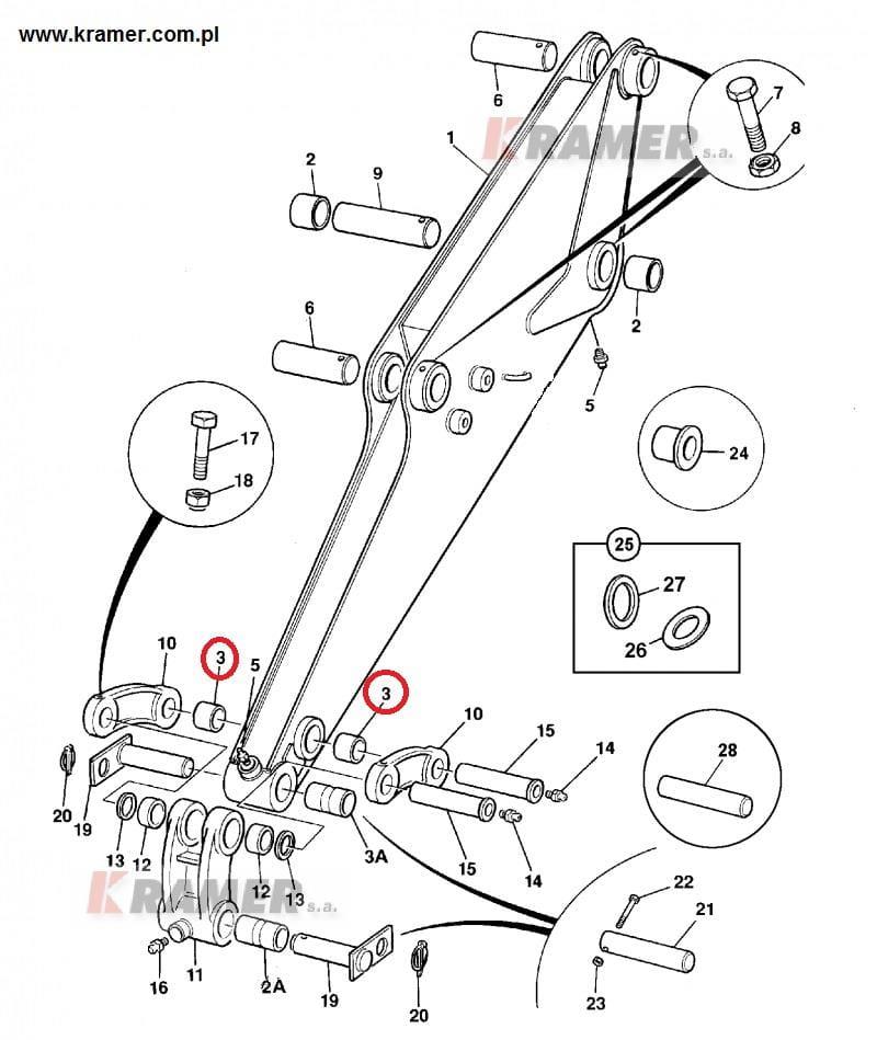 Tuleja JCB mini 801 8016 8020 wysięgu łyżki cięta Kramer S