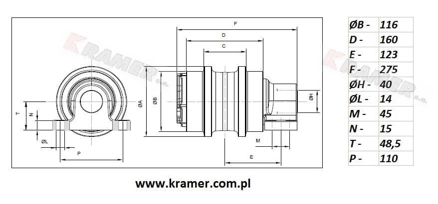 Rolka podtrzymująca DAEWOO SOLAR 130 / 175 Kramer S.A