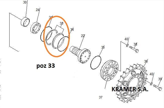 Uszczelnienie zwolnicy Komatsu D41 D65 D85 Kramer S.A