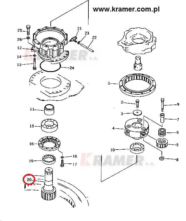 Wałek obrotu KOMATSU PC200-5 PC200-6 PC210-5 Kramer S.A