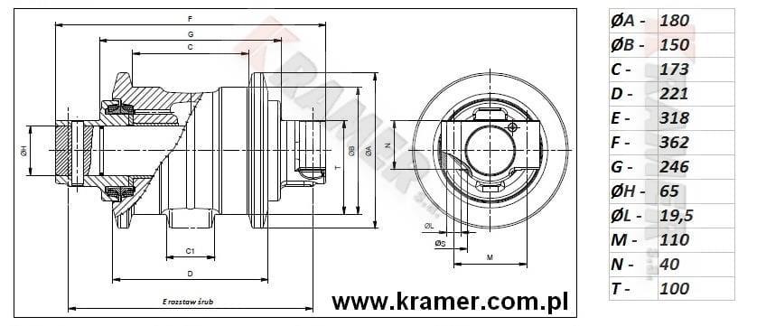 Rolka jezdna JCB JS160 JS180 JS190 JS200 JS220 Kramer S.A