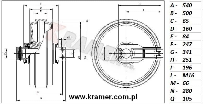 Koło napinające Komatsu PC160/180/200/210/220/240 Kramer S