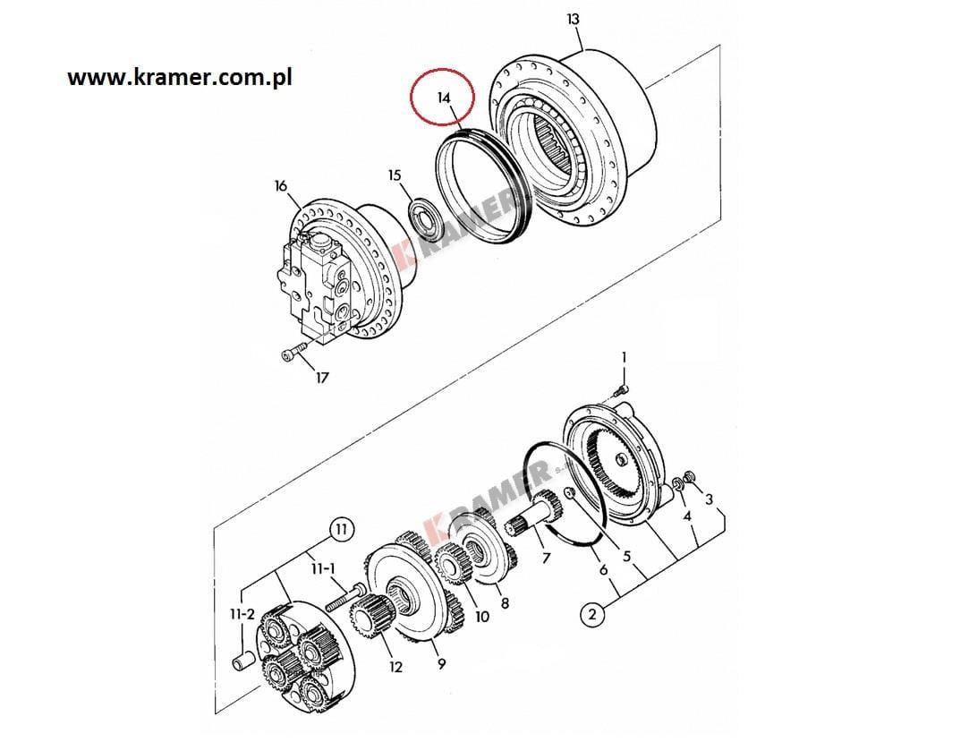 Uszczelnienie zwolnicy JCB JS130 JS260 koparki Kramer S.A