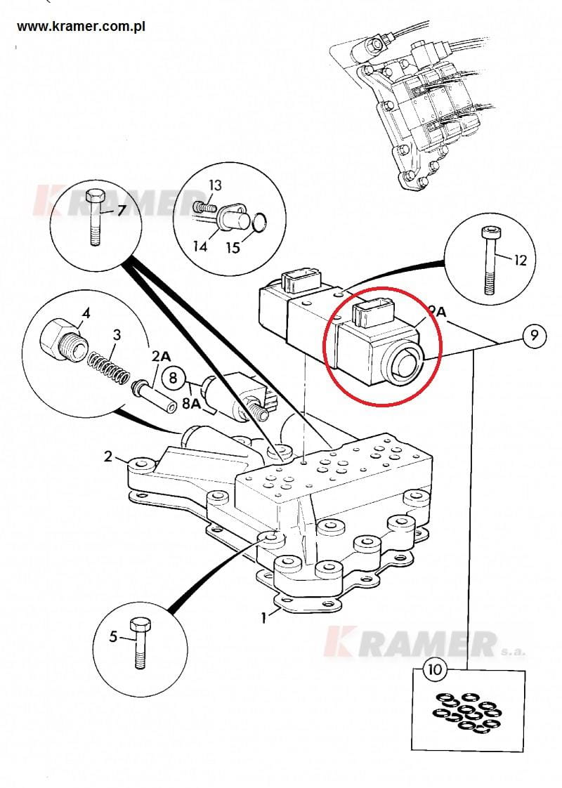 Cewka elektrozaworu jazdy JCB 3CX / 4CX Kramer S.A